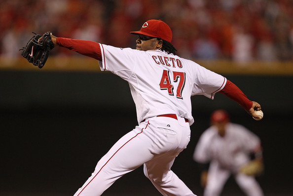 Johnny Cueto Starting pitcher Johnny Cueto #47 of the Cincinnati Reds delivers the ball against the Philadelphia Phillies during game 3 of the NLDS at Great American Ball Park on October 10, 2010 in Cincinnati, Ohio.