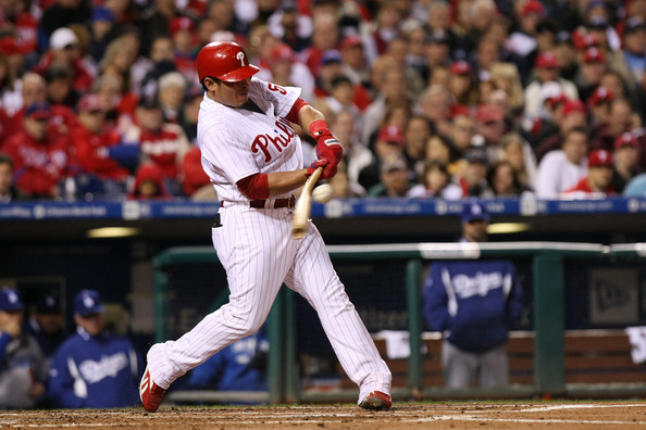 Carlos Ruiz Carlos Ruiz #51 of the Philadelphia Phillies hits a broken bat ground out to end the bottom of the second inning against the Los Angeles Dodgers in Game Four of the NLCS during the 2009 MLB Playoffs at Citizens Bank Park on October 19, 2009 in Philadelphia, Pennsylvania.